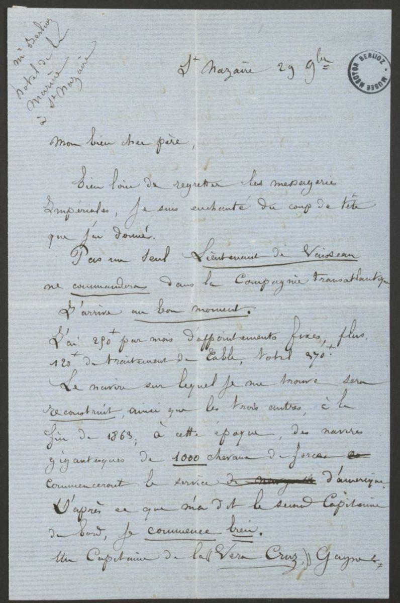 Lettre de Louis Berlioz à Hector Berlioz Manuscrit 1862