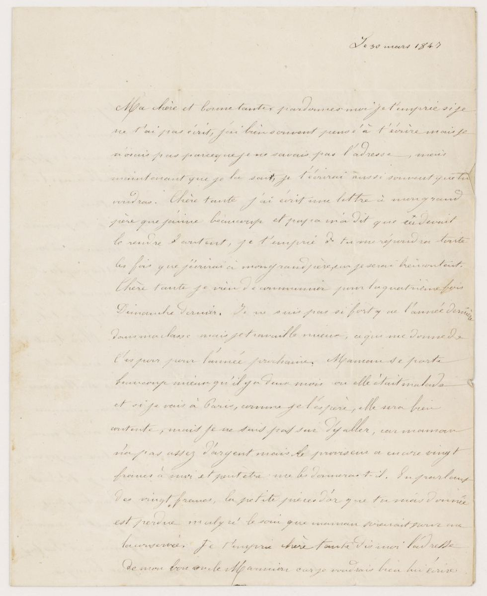 Lettre de Louis Berlioz à Nanci Pal Berlioz Manuscrit 1847