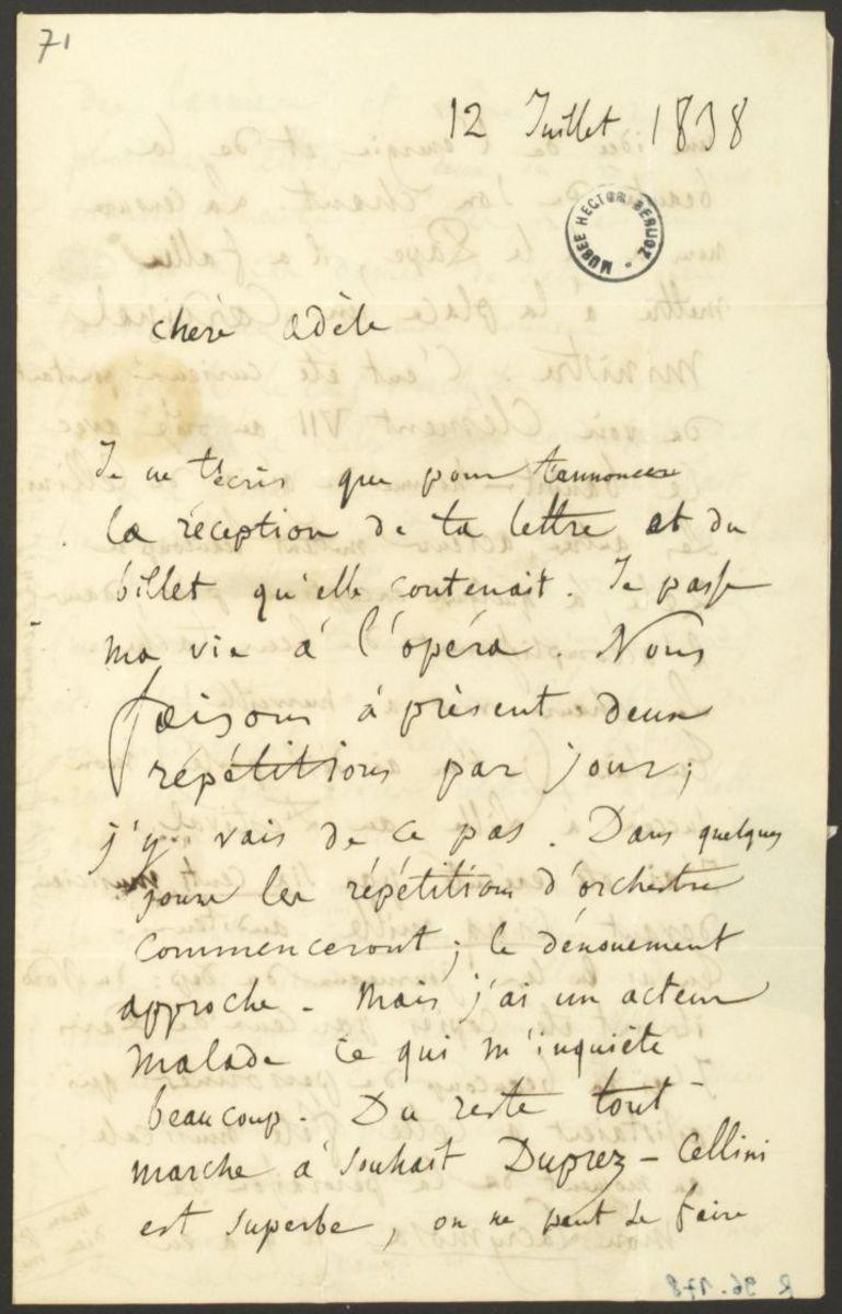 Lettre d'Hector Berlioz à Adèle Suat Berlioz Manuscrit 1838