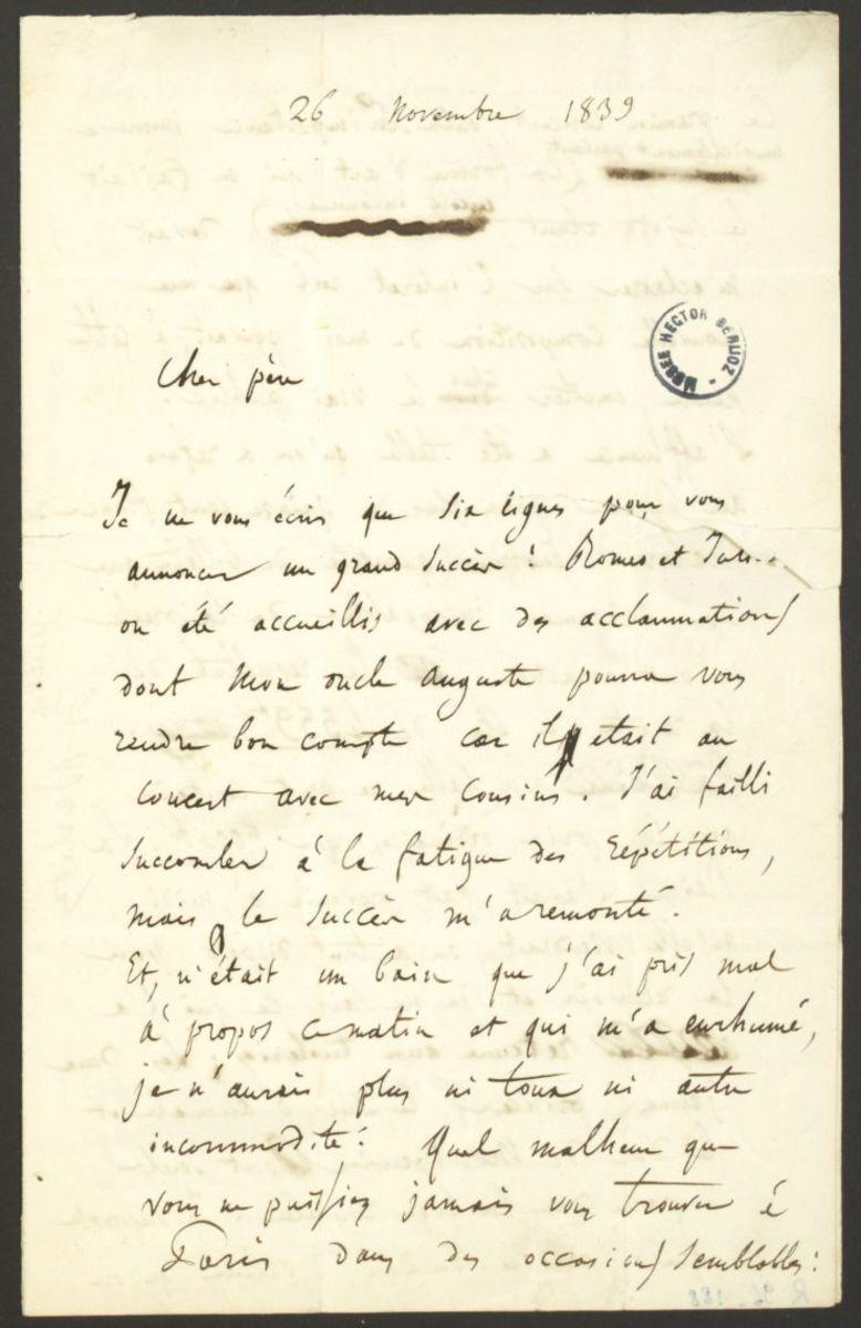Lettre d'Hector Berlioz à Dr. Louis-Joseph Berlioz Manuscrit 1839