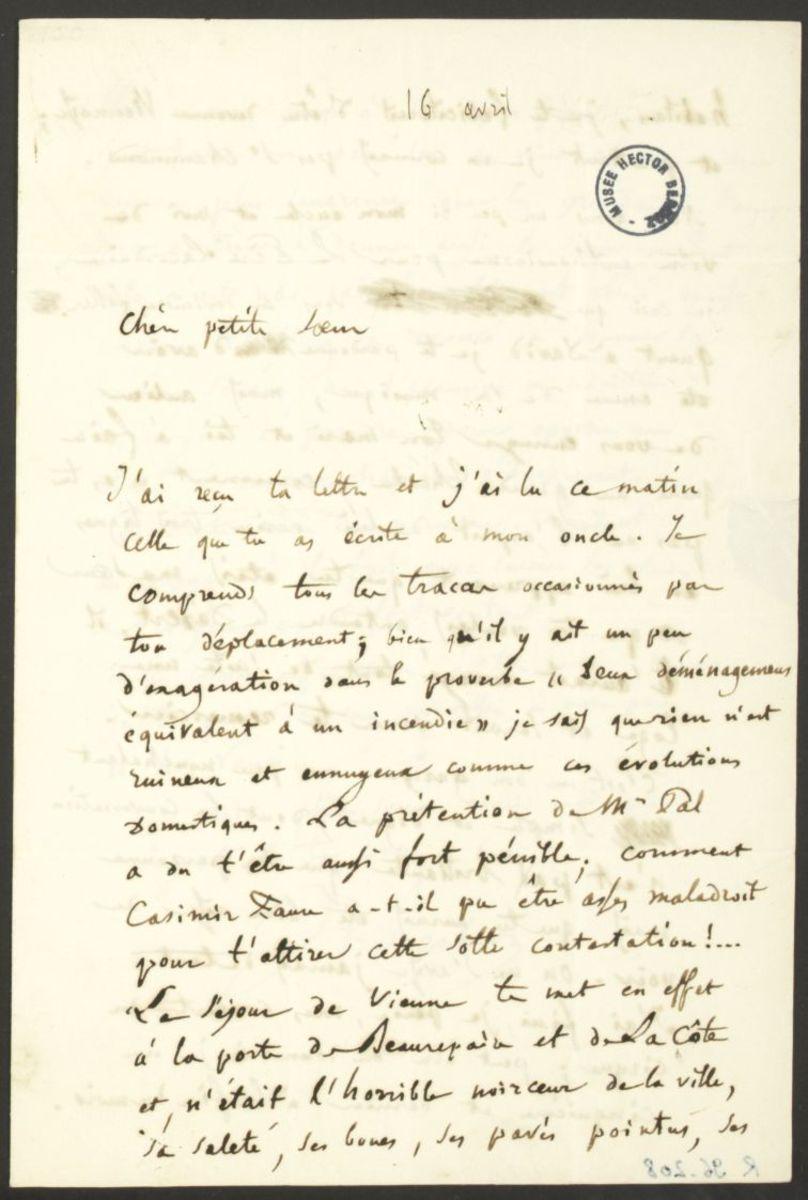 Lettre d'Hector Berlioz à Adèle Suat Berlioz Manuscrit 1845