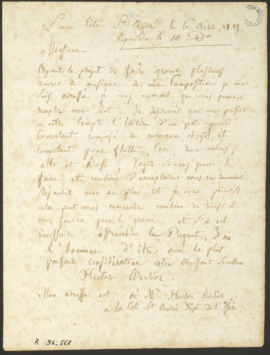 Lettre d'Hector Berlioz à Ignace Pleyel Manuscrit 1819