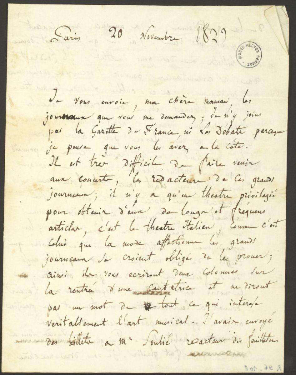 Lettre d'Hector Berlioz à Josephine Berlioz Marmion Manuscrit 1829
