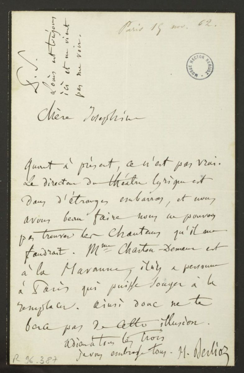 Lettre d'Hector Berlioz à Joséphine Suat Manuscrit 1862 (?)