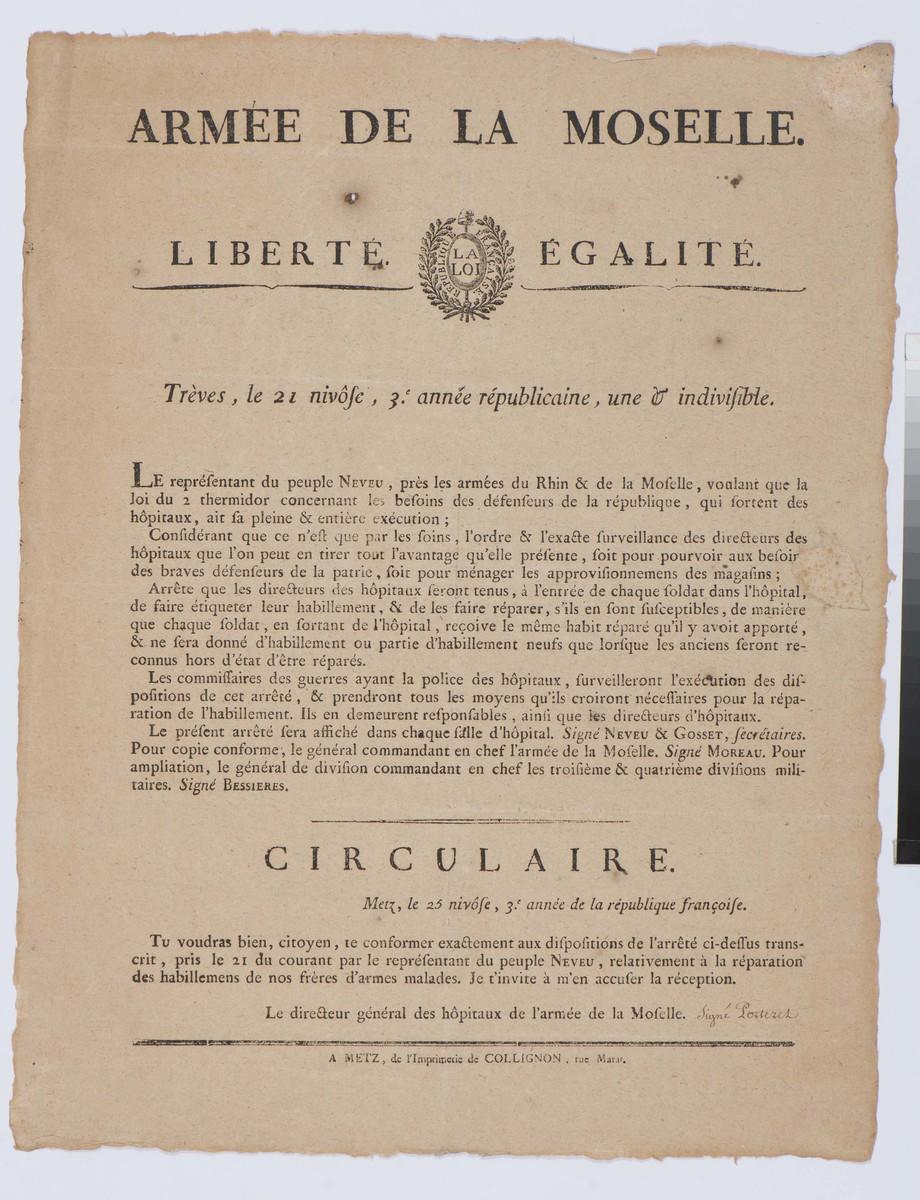 Armée de la Moselle : Trèves, le 21 Nivôse, 3eme année républicaine une & indivisible imprimé 9 janvier 1795