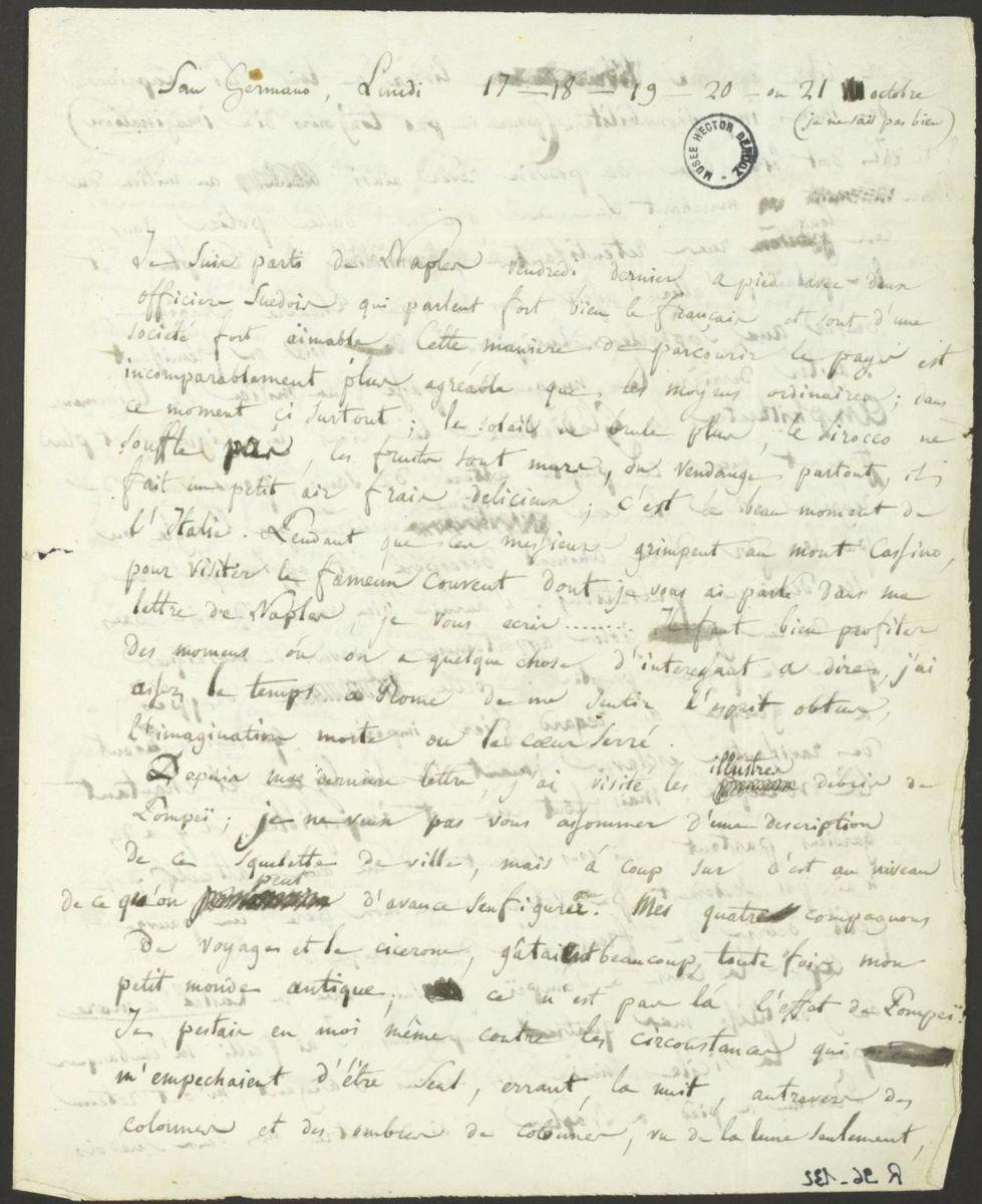 Lettre d'Hector Berlioz à sa famille Manuscrit 1831