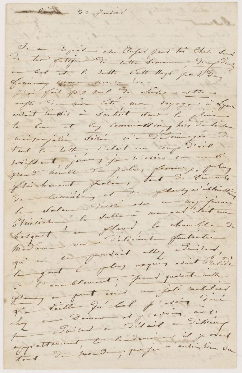Lettre d'Adèle Suat Berlioz à Nanci Pal Berlioz Correspondance 1846