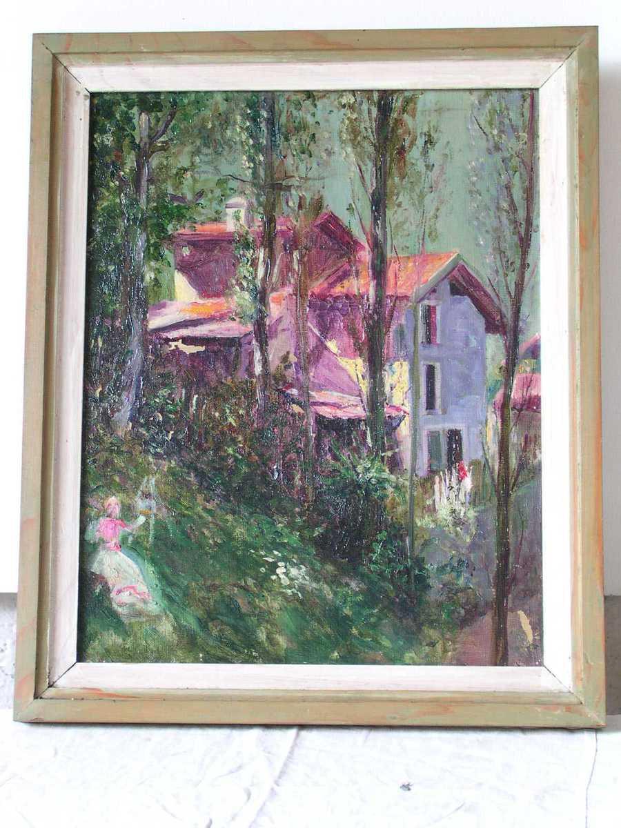 Jeune femme peignant devant une maison Peinture