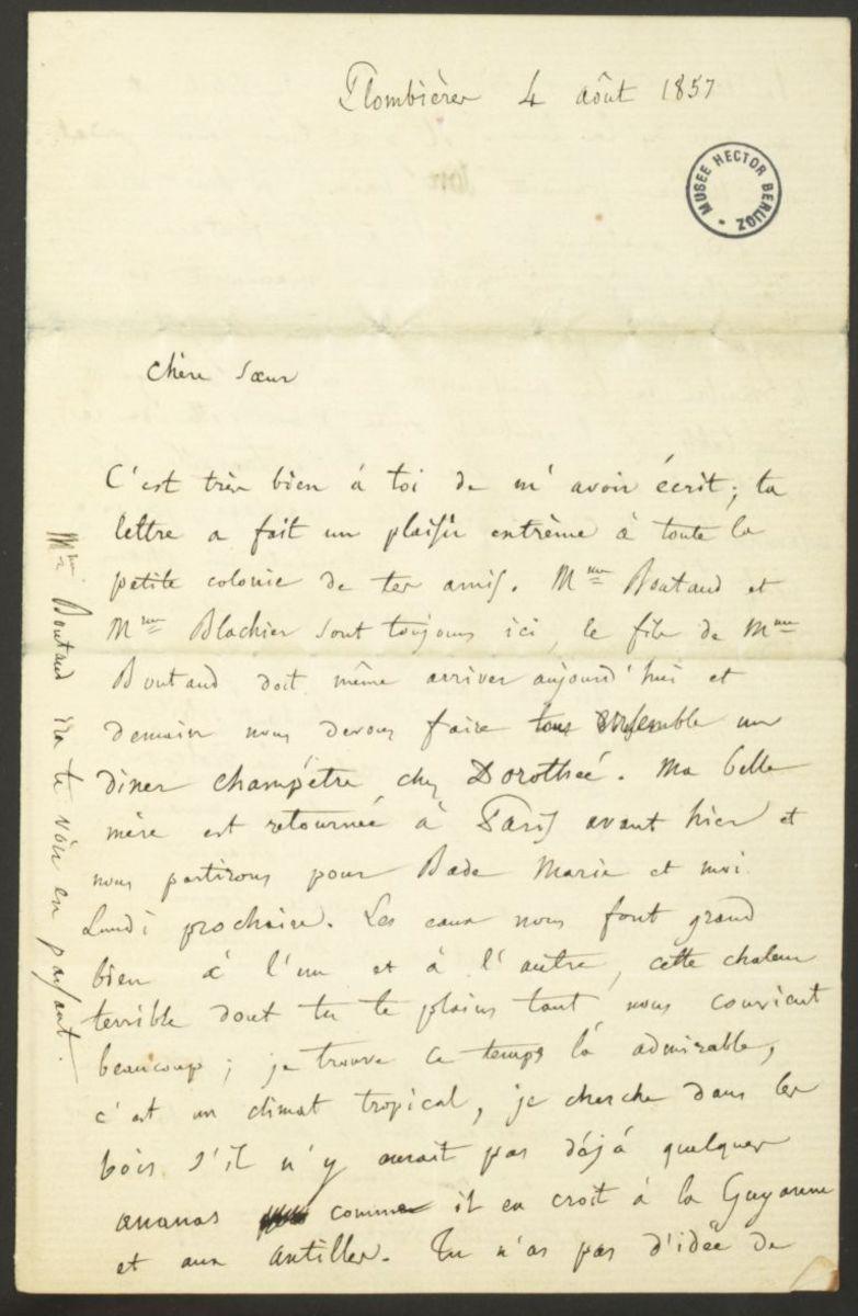 Lettre d'Hector Berlioz à Adèle Suat Berlioz Manuscrit 1857
