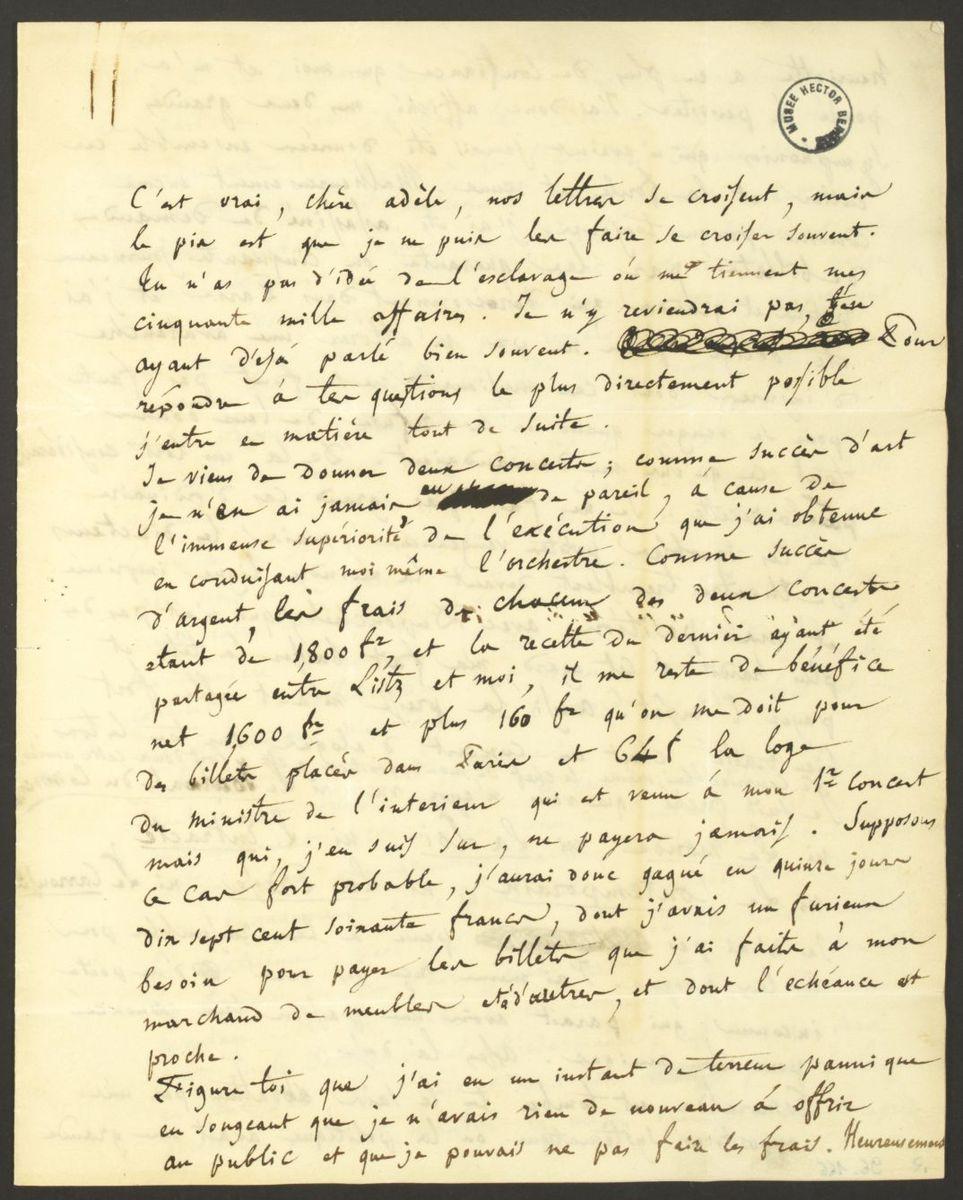 Lettre d'Hector Berlioz à Adèle Suat Berlioz Manuscrit 1836