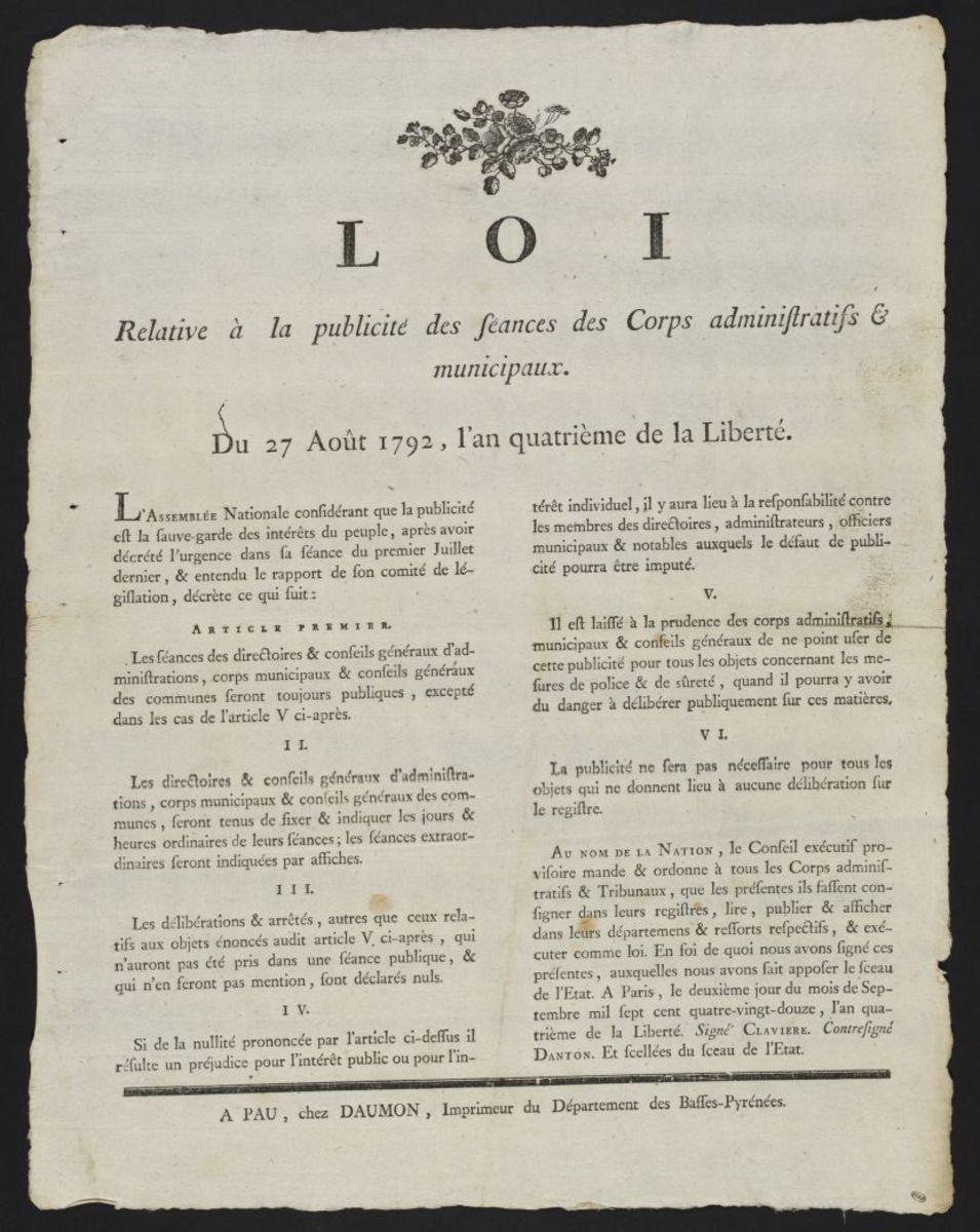 Loi relative à la publicité des séances des Corps administratifs municipaux, du 27 août 1792, l'an quatrième de la Liberté Estampe