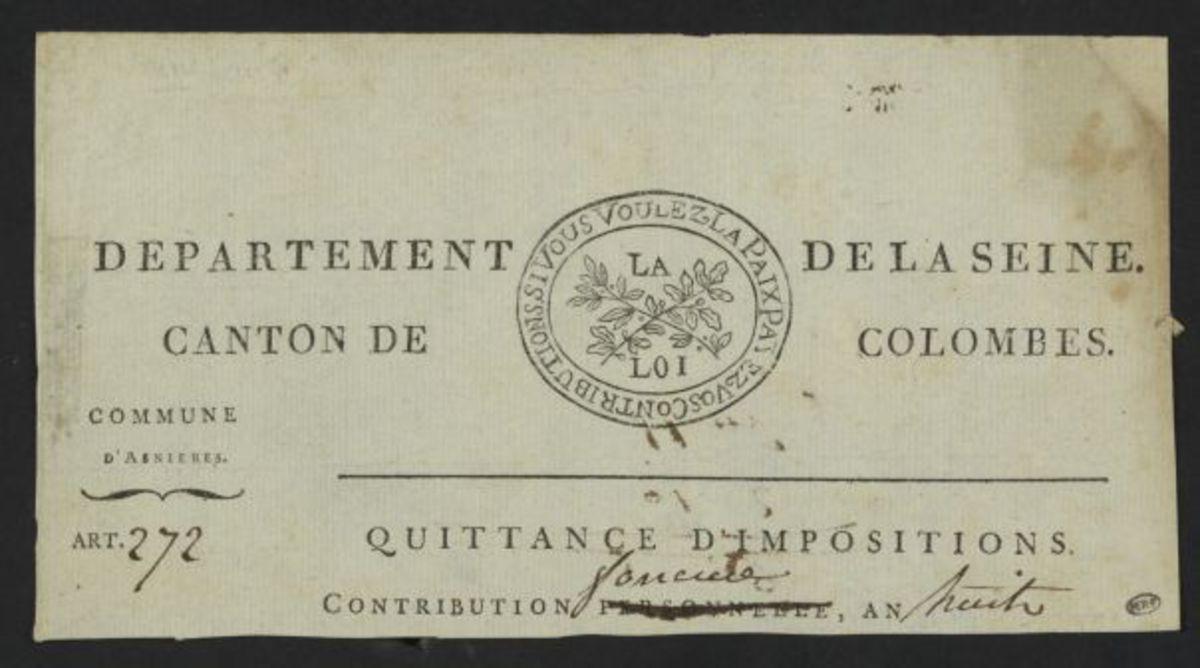 En-tête de quittence d' impositions, département de la Seine, canton de Colombes, commune d' Asnière Estampe
