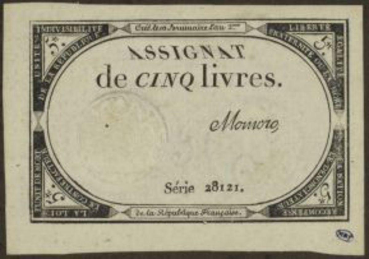 Assignat de cinq livres ; signé Momoro ; série 28121. Estampe