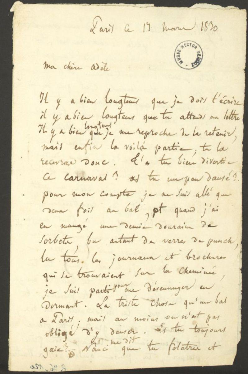 Lettre d'Hector Berlioz à Adèle Suat Berlioz Manuscrit 1830