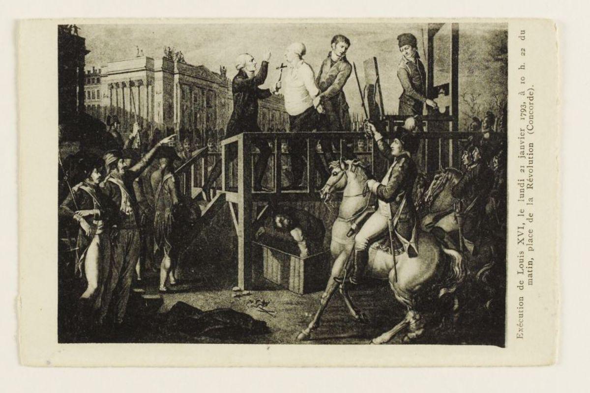 Exécution de Louis XVI, le lundi 21 Janvier 1793, à 10h22 du matin, place de la Révolution (Concorde) Arts graphiques