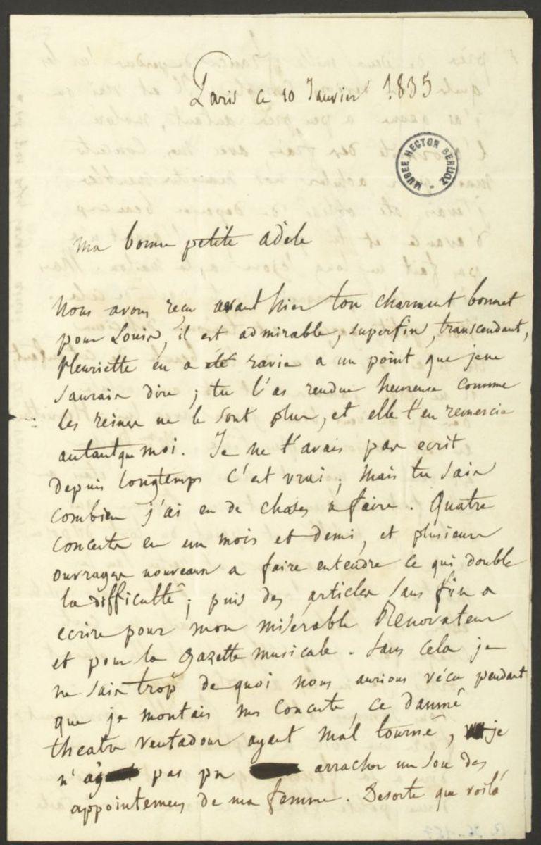 Lettre d'Hector Berlioz à Adèle Suat Berlioz Manuscrit 1835