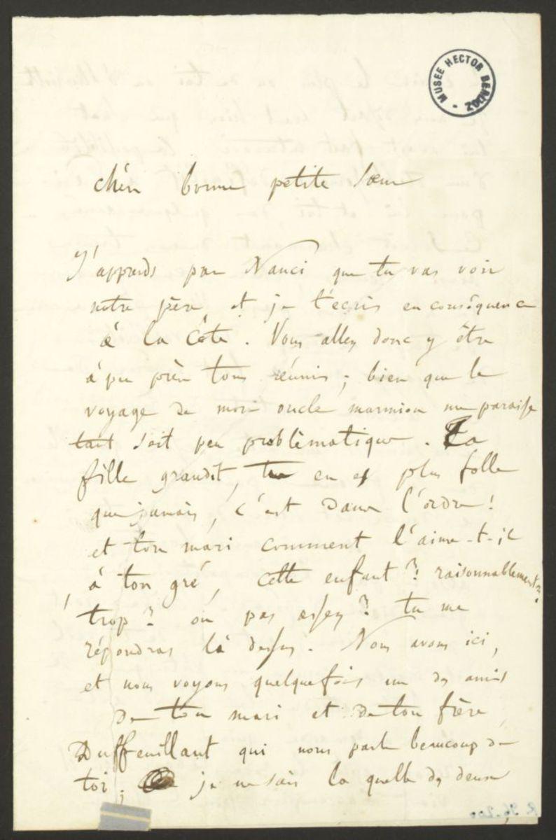 Lettre d'Hector Berlioz à Adèle Suat Berlioz Manuscrit 1841