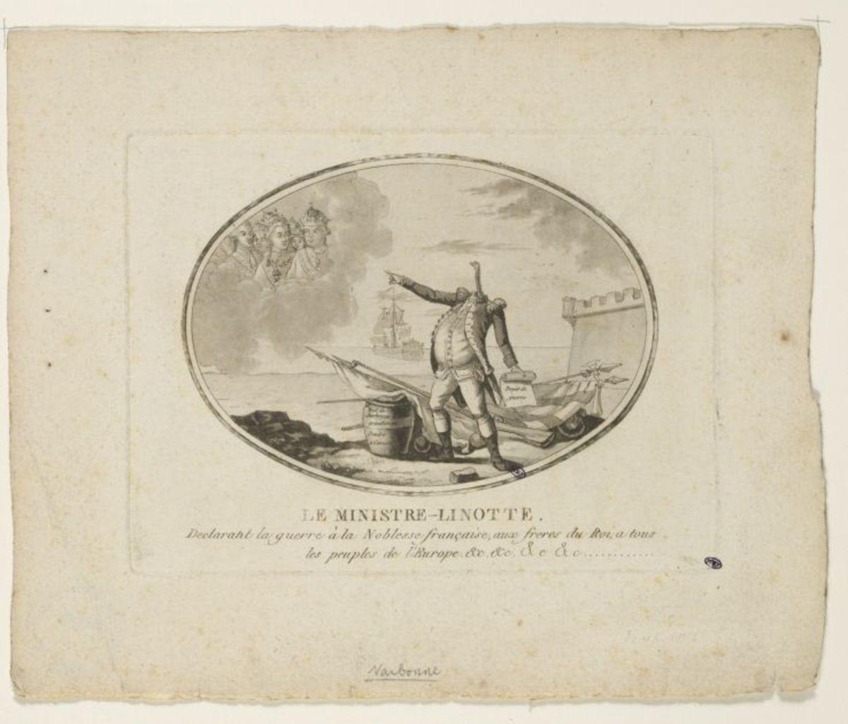 Le ministre Linotte déclarant la guerre à la noblesse française, aux frères du Roi, à tous les peuples de l' Europe Estampe