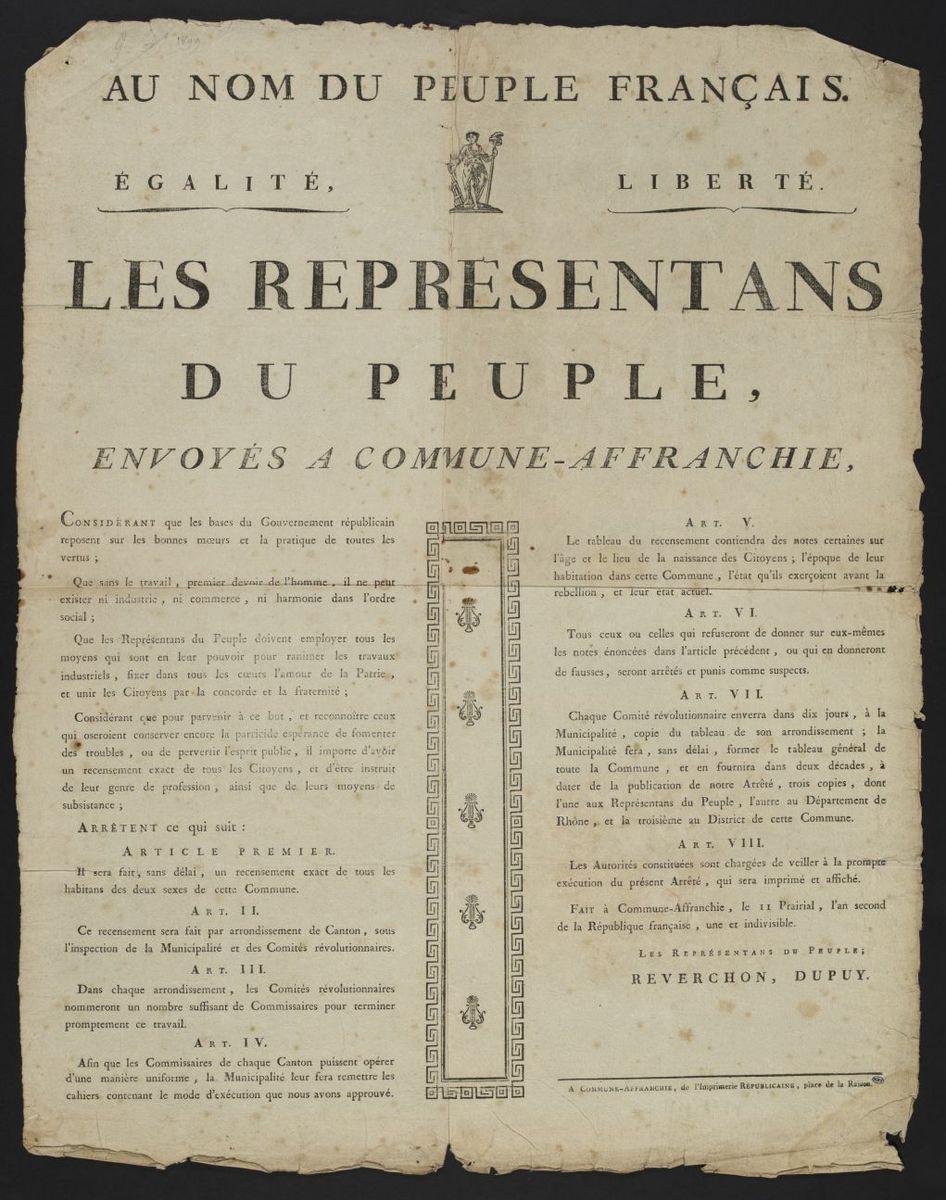 Les représentants du peuple envoyés à Commune-Affranchie, fait le II Prairial, l'an second de la République française, une et indivisible Estampe