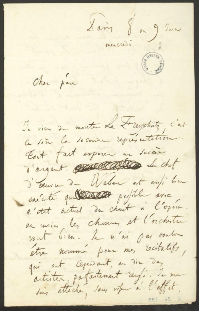 Lettre d'Hector Berlioz à Dr. Louis-Joseph Berlioz Manuscrit 1841