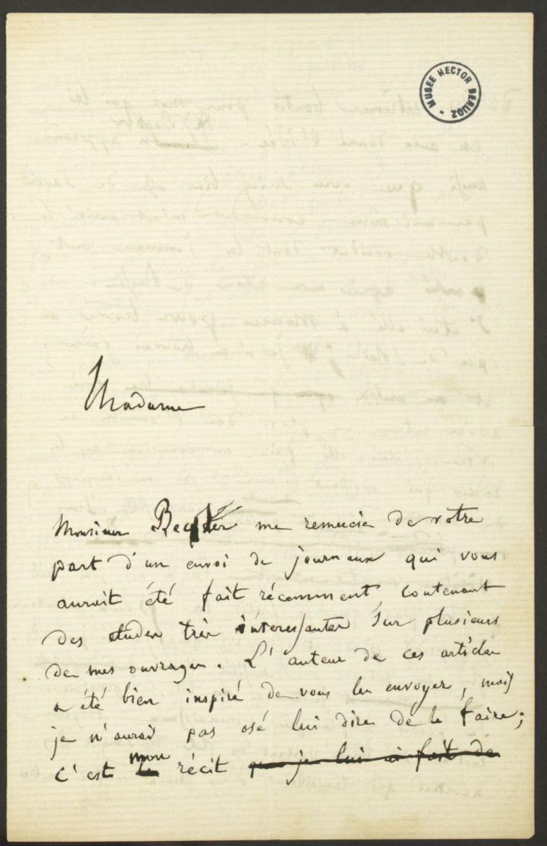 Lettre d'Hector Berlioz à la Grande Duchesse Yelena Pavlovna de  Russie (?) Manuscrit 1868