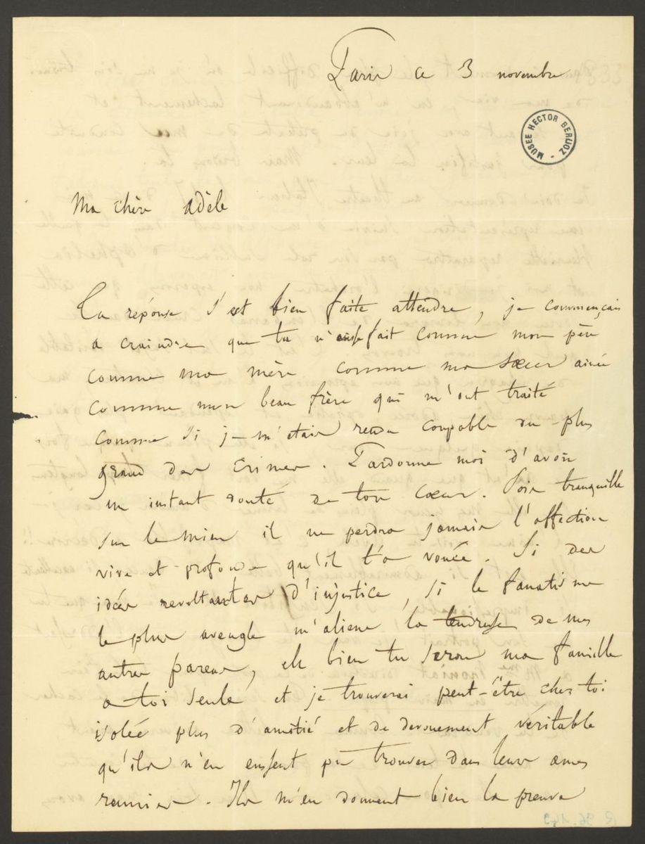Lettre d'Hector Berlioz à Adèle Suat Berlioz Manuscrit 1833