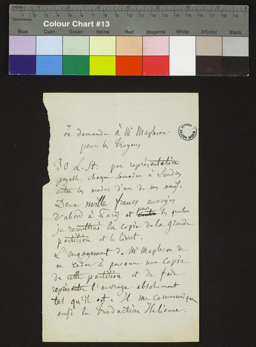 Lettre d'Hector Berlioz à Mapleson Manuscrit
