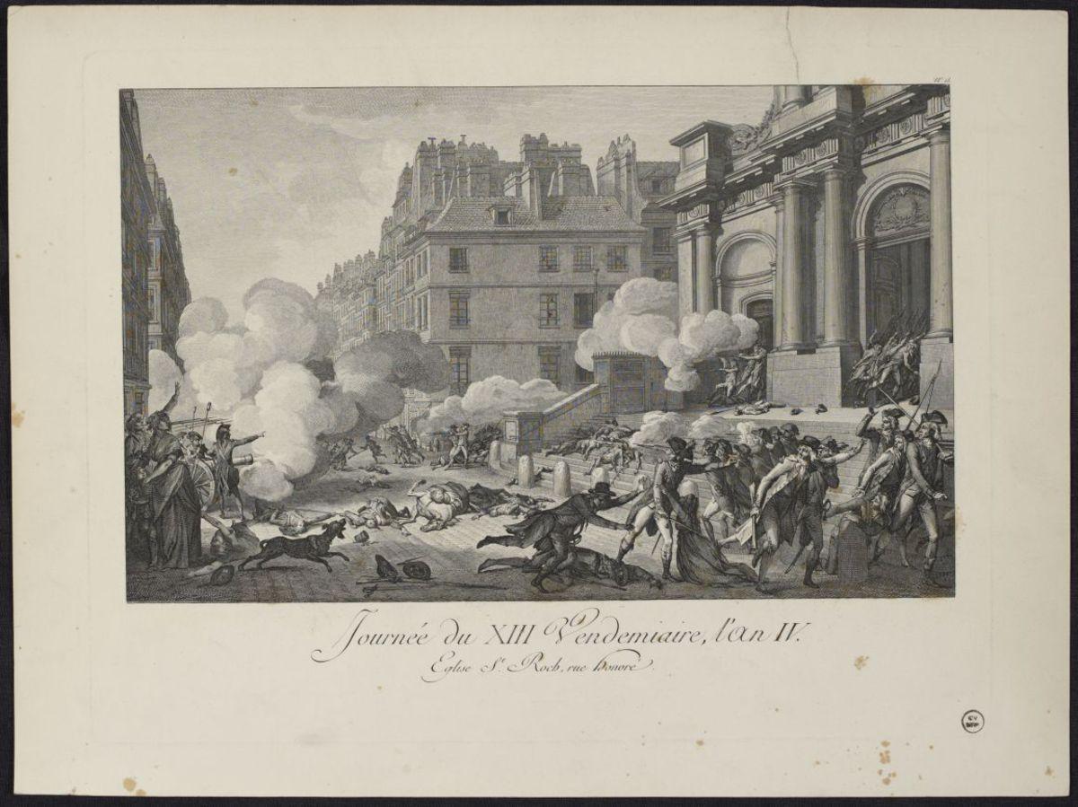 Journée du XIII Vendemiaire l'an IV. Eglise St Roch, rue Honoré Estampe