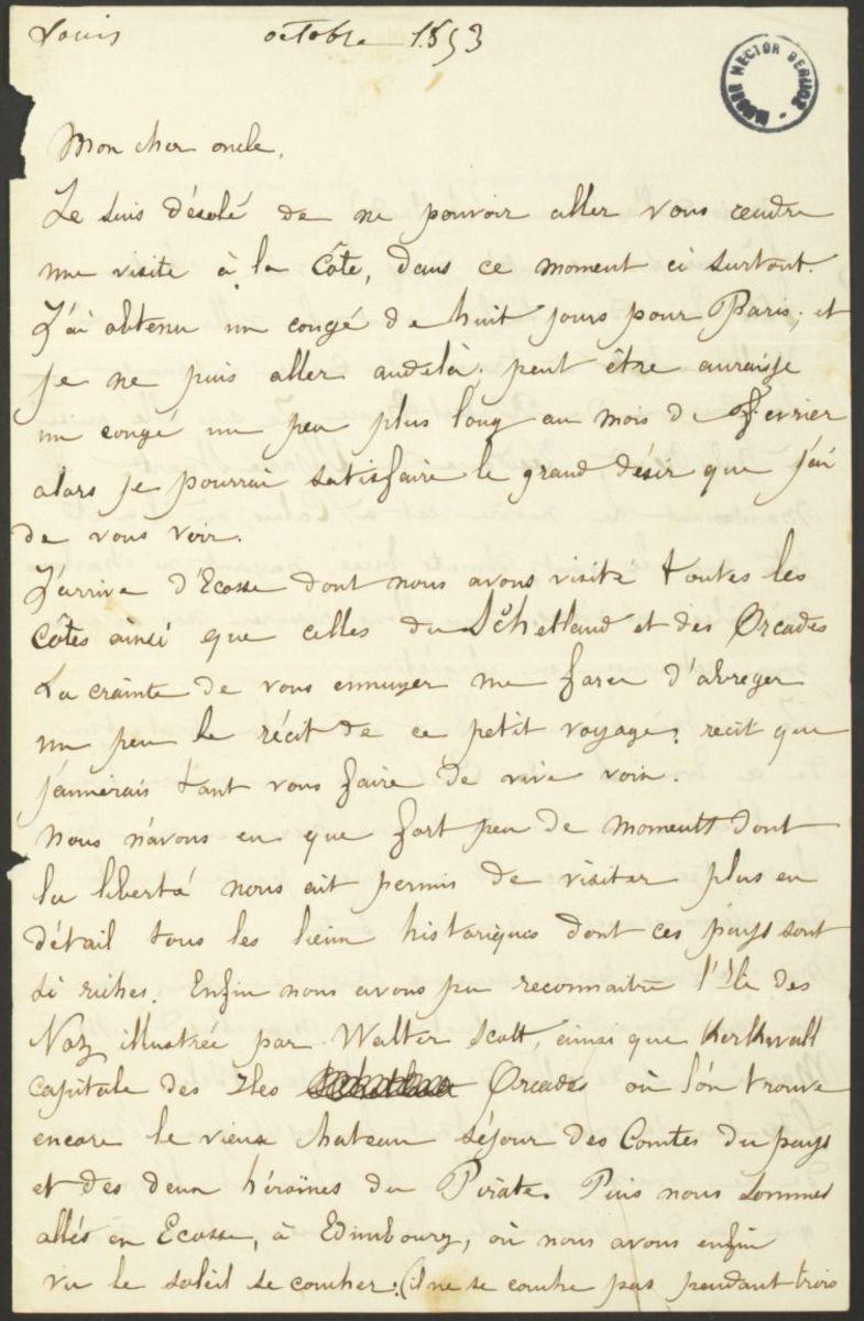 Lettre de Louis Berlioz à  Félix Marmion Manuscrit 1853