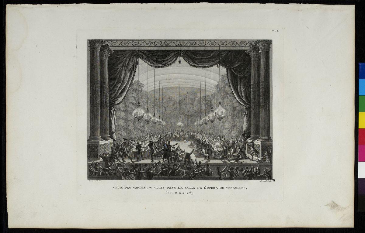 Orgie des gardes du corps dans la salle de l'Opéra de Versailles, 1er octobre 1789 Arts graphiques