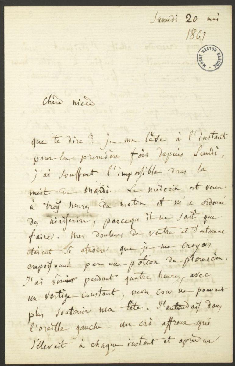 Lettre d'Hector Berlioz à Nancy Suat Manuscrit 1867