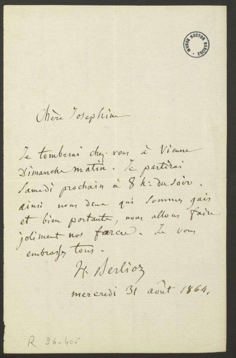 Lettre d'Hector Berlioz à Joséphine Suat Manuscrit 1864