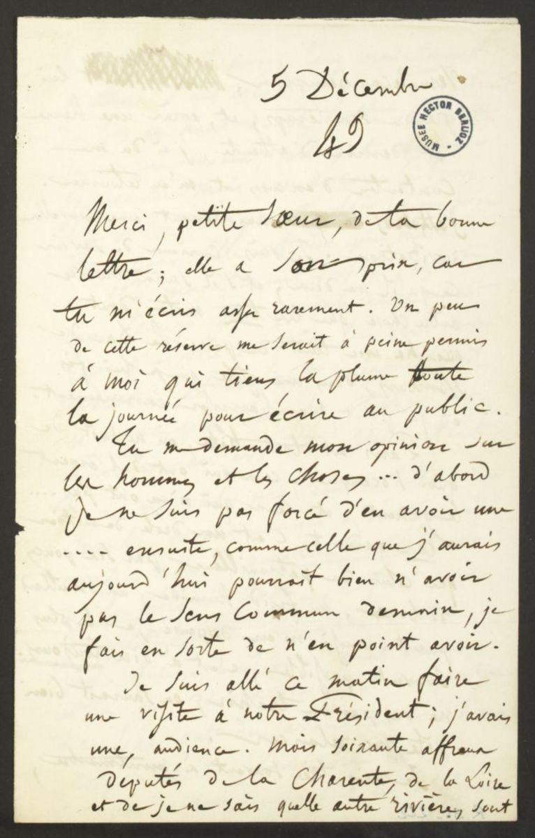Lettre d'Hector Berlioz à Adèle Suat Berlioz Manuscrit 1849
