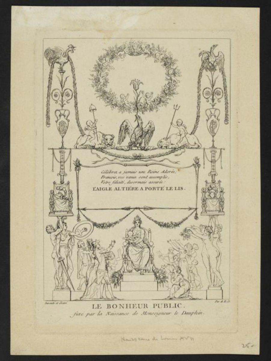 L'aigle altier a porté le lys ou le bonheur public fixé par la naissance de monseigneur le Dauphin Estampe