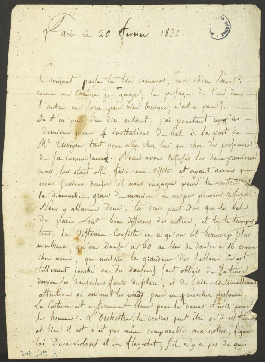 Lettre d'Hector Berlioz à Nanci Pal Berlioz Manuscrit 1822