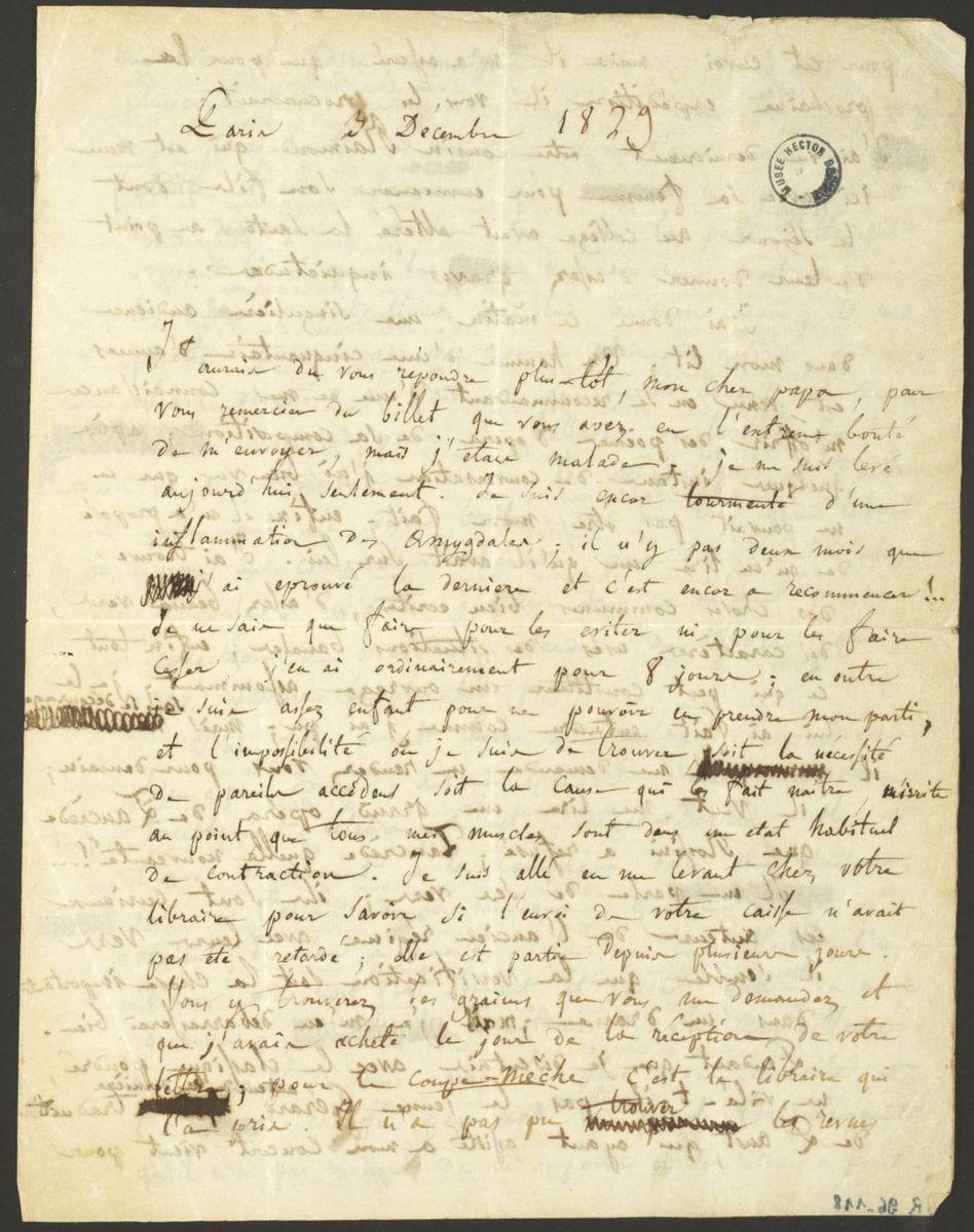 Lettre d'Hector Berlioz à Dr. Louis-Joseph Berlioz Manuscrit 1829
