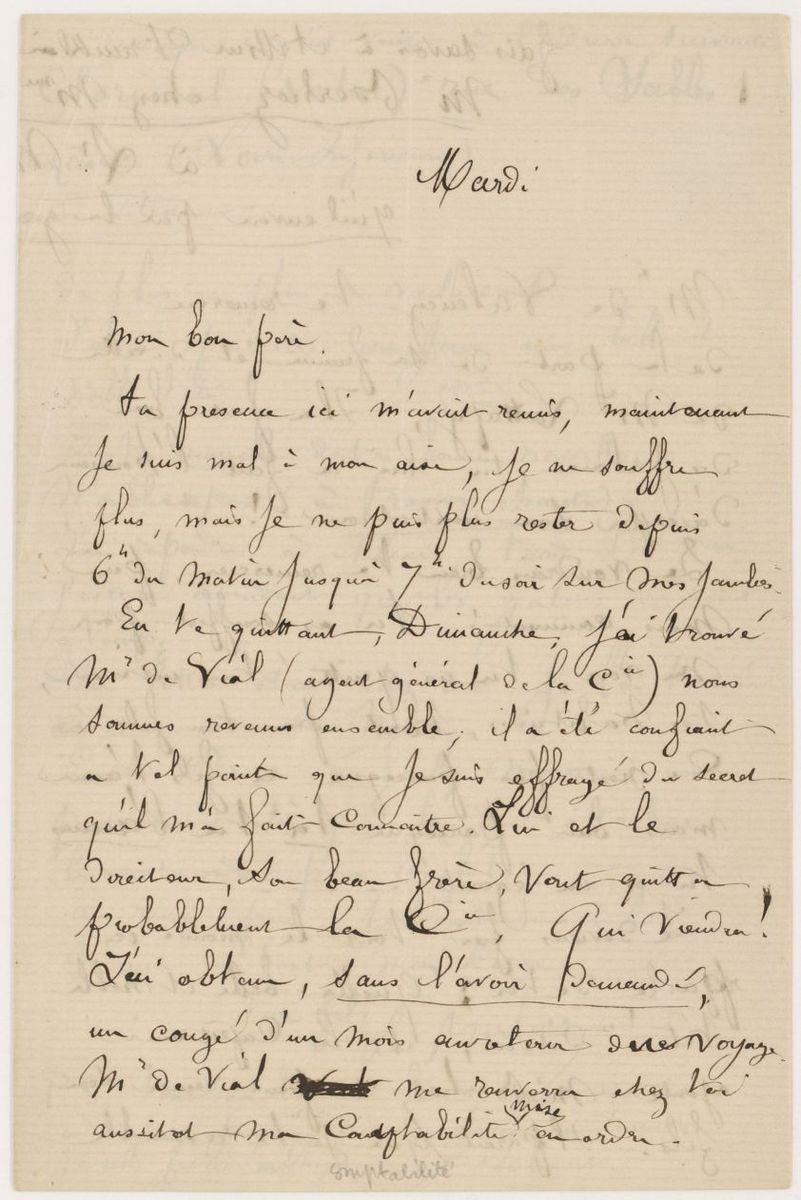 Lettre de Louis Berlioz à Hector Berlioz Manuscrit 1865