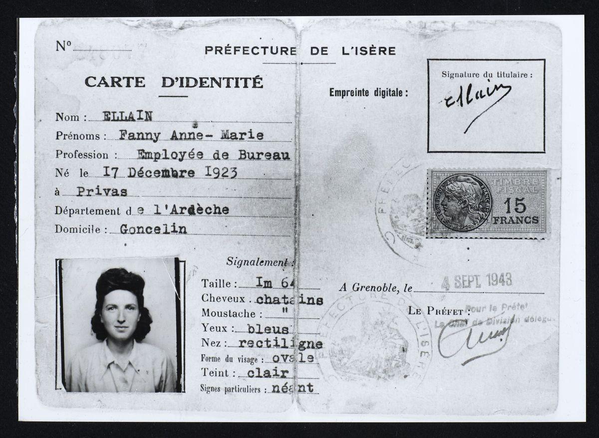 Fausse carte d'identité de Fanya Ewenczyk du Mouvement de la Jeunesse Sioniste, 1944 Photographie 4 septembre 1943