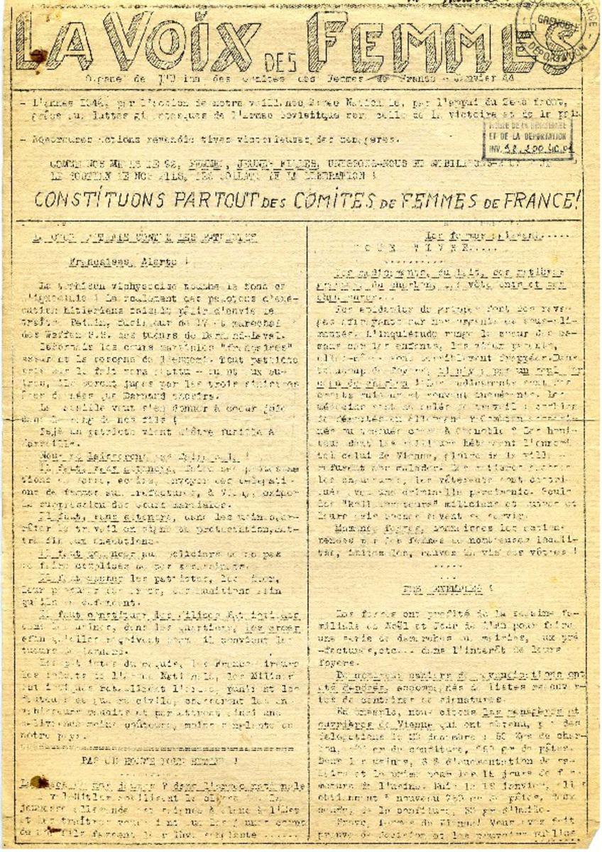 La voix des femmes Périodique Janvier et avril 1944