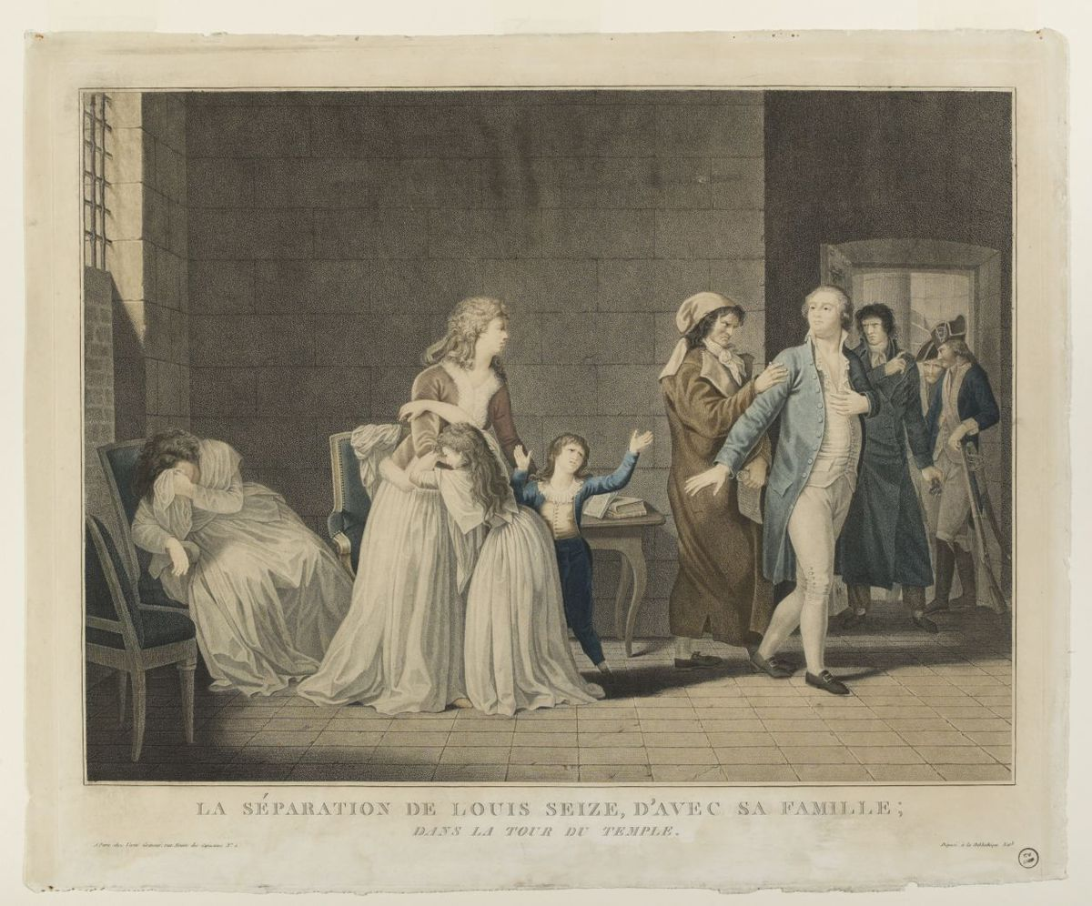 La séparation de Louis seize d'avec sa famille, dans la tour du Temple Estampe