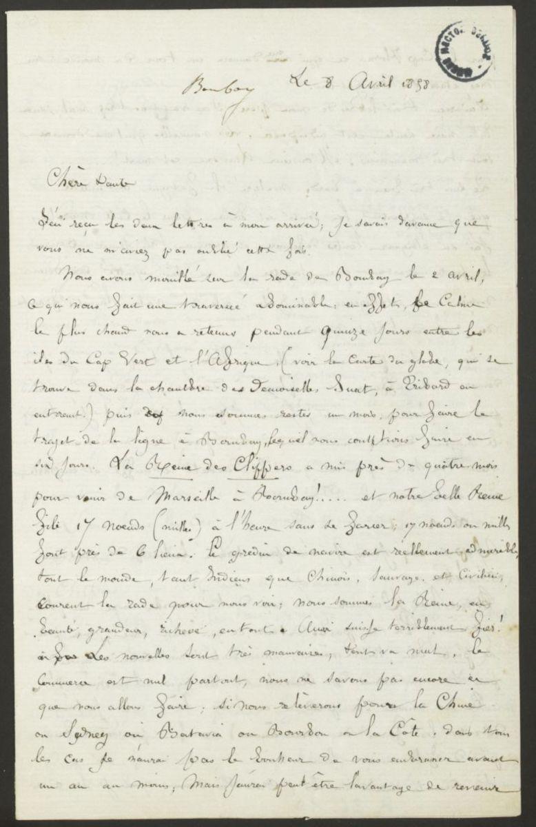 Lettre de Louis Berlioz à Adèle Suat Berlioz Manuscrit 1858