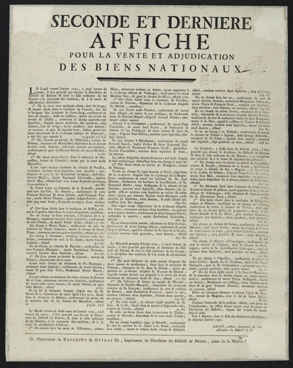 Seconde et dernière affiche pour la vente et adjudication des Biens Nationaux du 10 janvier 1792 Estampe