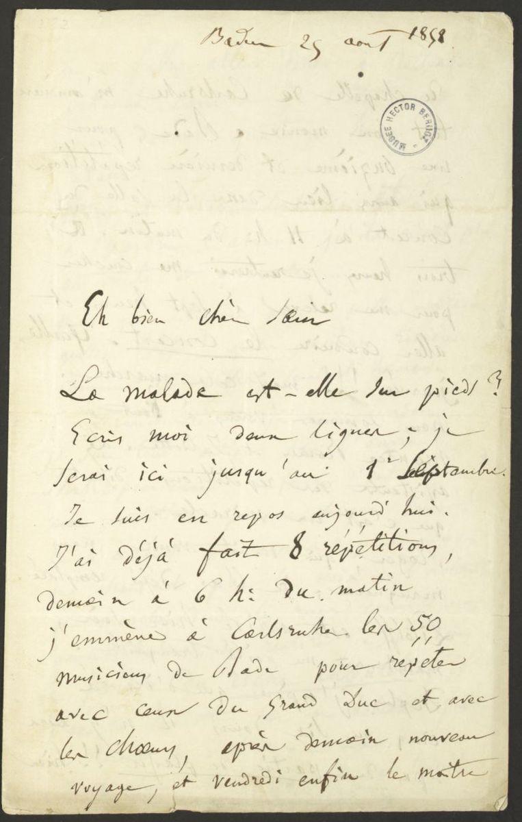 Lettre d'Hector Berlioz à Adèle Suat Berlioz Manuscrit 1858