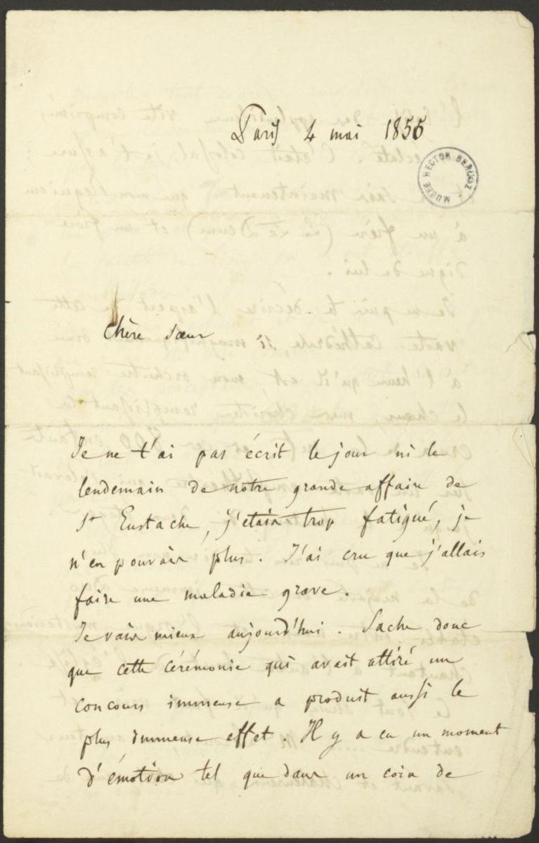 Lettre d'Hector Berlioz à Adèle Suat Berlioz Manuscrit 1855