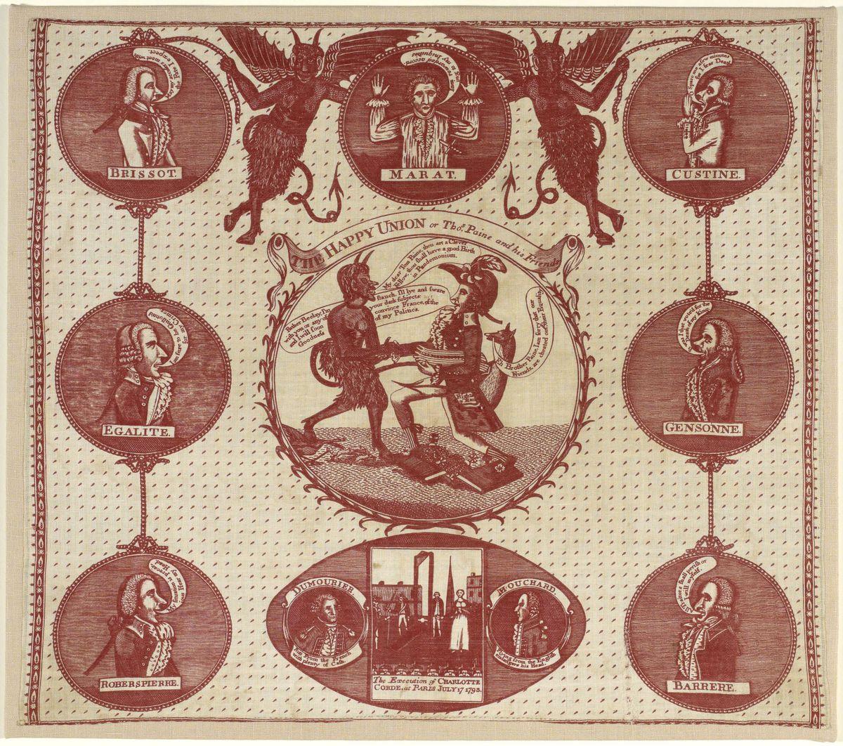 Foulard - L'union heureuse ou Tom Paine et ses amis. Textile