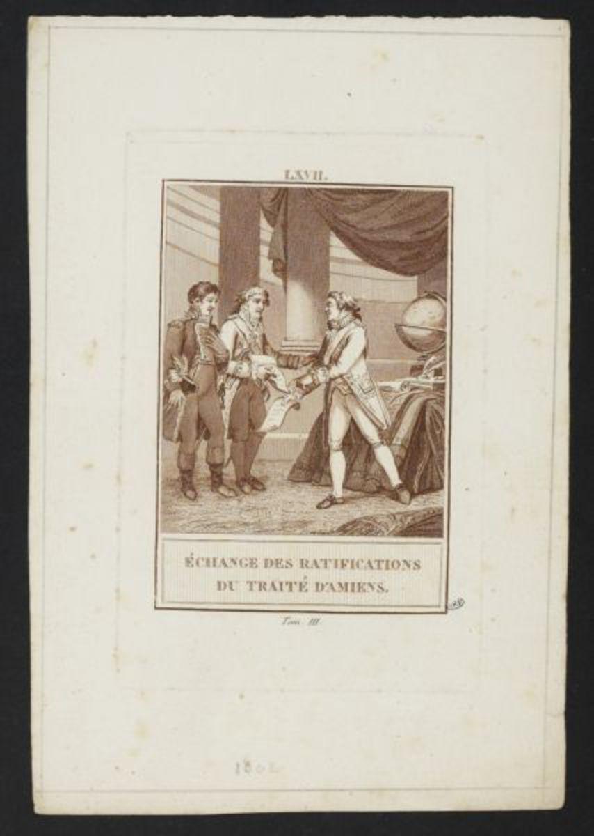 Echange des ratifications du traité d' Amiens Estampe